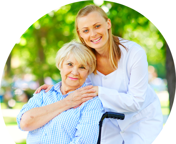 old woman with a female caregiver